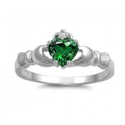 925 Sterling Silver Claddagh Emerald Sapphire CZ Ring