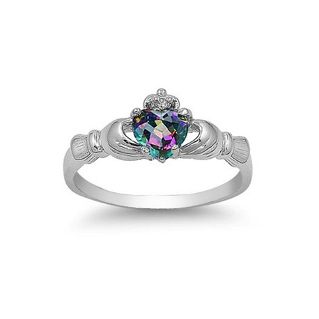 925 Sterling Silver Claddagh Rainbow CZ Ring