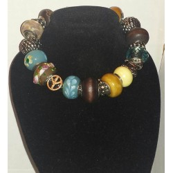 Teal Blue and Brown Print Bracelet