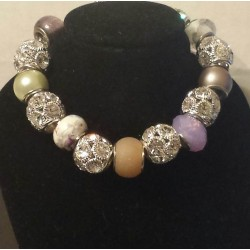 Purple and Peach w/Sliver Glass Bead Bracelet