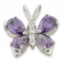 925 Sterling Silver Butterfly Purple CZ Pendant