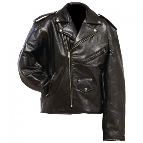 Diamond Plate™ Rock Design Genuine Leather Motorcycle Jacket