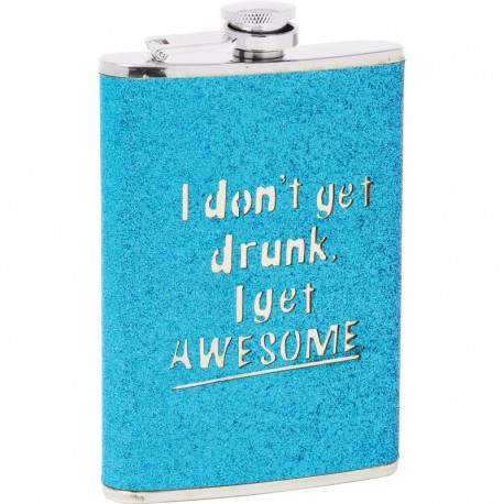 Maxam® 8oz Stainless Steel Flask with Blue Sparkled Wrap