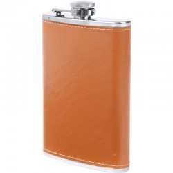Maxam® 8oz Stainless Steel Flask with Faux Leather Wrap