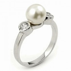 925 Sterling Silver CZ 2 Stone Bezel Ring w/ Pearl Center